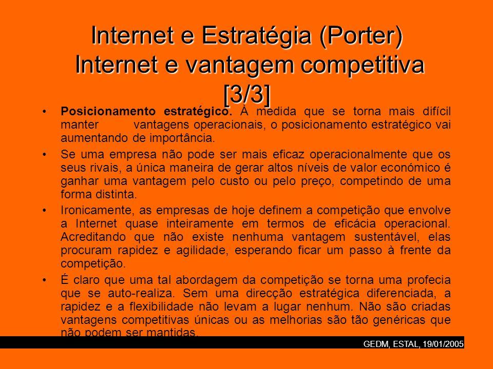 Internet e Estratégia (Porter) Internet e vantagem competitiva [3/3]